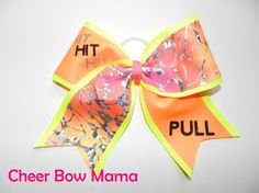Hit Hit Hit PULL... Neon Cheer Bow by CheerBowMama on Etsy