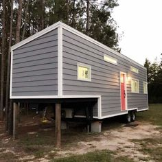 Spencer's tiny house in Myrtle Beach, South Carolina was built on a 35 ft. fifth wheel trailer. The bedroom resides on the front. Tiny House Swoon, Tiny House Plans, Tiny House On Wheels, House Floor Plans, Garage Apartment Floor Plans, Beautiful Small Homes, Led Recessed Lighting, Tiny House Listings, Casement Windows