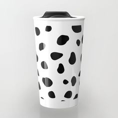 $24.99 Take your coffee to go with a personalized ceramic travel mug. #mug #travel #coffee #tea #home #decor #dog #animals #pattern #spots #dots #pet #puppy #Dalmatian #black #white #modern #creative #abstract #buyart #society6 #gift #giftideas