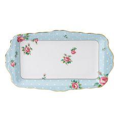 Royal Albert - Polka Blue Vintage Formal Sandwich Tray - 652383739475 - NIB - $34.99