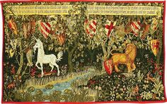 William Morris Quest tapestry ~  The Quest for the Holy Garil is represented in this William Morris tapestry by the shields of the 24 Knights of the Round Table. The Lion is courage; the unicorn is purity.**
