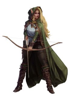 Female Elf Archer Fighter or Ranger - Pathfinder PFRPG DND D&D d20 fantasy