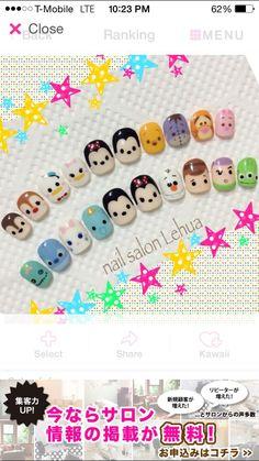 31 Ideas For Nails Gel Cute Art Ideas - Daily Fashion Disney Nail Designs, Best Nail Art Designs, Trendy Nail Art, Cute Nail Art, Kawaii Nail Art, Nail Art For Kids, Tsumtsum, Japanese Nail Art, Disney Nails