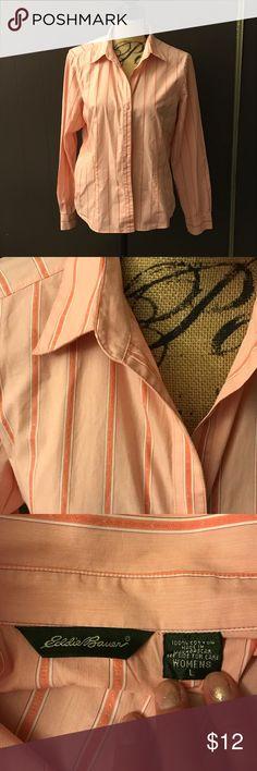 Eddie Bauer button down shirt 🌹 Pink and white stripped button down. Excellent condition! By Eddie Bauer Eddie Bauer Tops Button Down Shirts