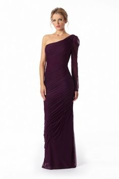 2012 Spring Style Sheath / Column One Shoulder Ruffles  Sleeveless Floor-length Chiffon Grape Prom Dress / Evening Dress  $114.99 http://paradiseinternetmall.net/