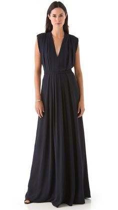 Calvin Klein Collection Lilly Jumpsuit  Knife pleats add volume to this wide-leg silk jumpsuit and inverted pleats lend texture to the bodice. Deep V neck and hidden back zip. Sleeveless. Unlined.    Fabric: Lightweight woven silk.  100% silk.  Dry clean.  Made in Italy.