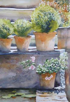 """Concours du mois de mai, thème : printemps. 2ème prix : """"les pots"""", aquarelle 50 x 70 cm, Françoise Amet"""