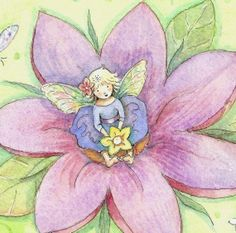 art by becky kelly images | Tiny Fairy Perched Upon a Lily - Becky Kelly | Becky Kelly Art