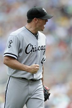 MINNEAPOLIS, MN - AUGUST 1: Jake Peavy #44 of the Chicago White Sox celebrates the final out of the eighth inning against the Minnesota Twins on August 1, 2012 at Target Field in Minneapolis, Minnesota. The White Sox defeated the Twins 3-2. (Photo by Hannah Foslien/Getty Images)