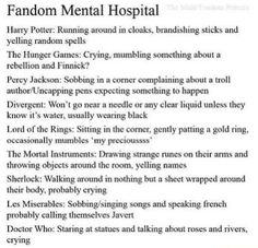"""Fandom Mental Disorders hahaha<--why does it say """"probably crying"""" for the sherlock fandom? WE'RE ALWAYS CRYING <-- this whole pin is just too accurate."""