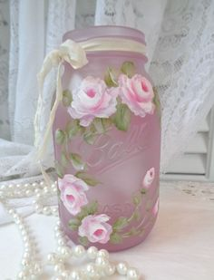 daSommers PINK SEA GLASS BALL JAR roses chic shabby vintage cottage hand painted #VintageBallJar #SHABBYROMANCE