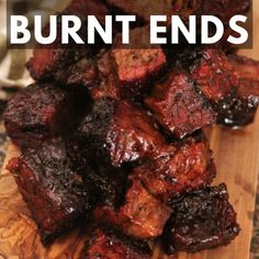 My BBQ brisket burnt ends recipe comes straight from the pit masters in Kansas City's biggest BBQ joints. Slow smoked brisket point is cubed and braised in a sweet and tangy BBQ sauce for the most tender, melt in your mouth bites of meat candy. Traeger Recipes, Smoked Meat Recipes, Grilled Steak Recipes, Grilling Recipes, Beef Recipes, Grilling Ideas, Marinated Pork, Game Recipes, Grilled Meat