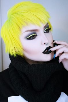 Lemon daisy Uv-active by Herman's amazing haircolor Yellow Makeup, Brown Makeup, Eye Makeup, Hair Makeup, Galaxy Makeup, Galaxy Hair, Pastel Roses, Pastel Hair, Scene Girl Hair