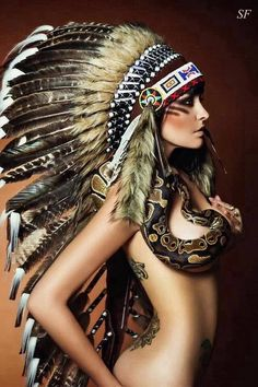 Girl with Native American headdress & snake art