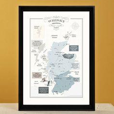 scotch whisky map father's day print by bonnie blackbird | notonthehighstreet.com