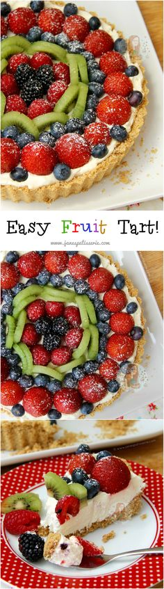 Easy No-Bake Fruit Tart! ❤️ Delicious, Sweet and Fruity No Bake Tart that will be Perfect at Dinner Time or just for a Treat… I Love This Easy Fruit Tart!