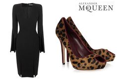 Alexander McQueen dress and leopard shoes. love