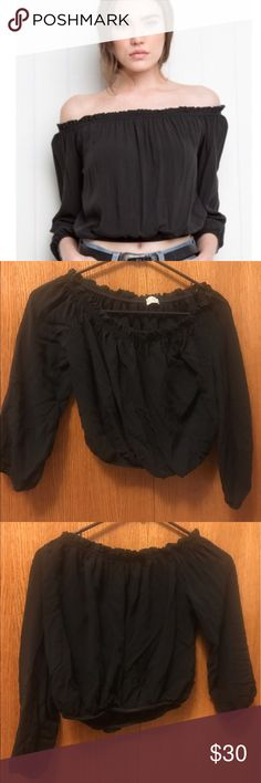 Brandy Melville Maura Top Off the shoulder crop top. Good condition, no flaws. Size is one size, probably fits a xsmall-medium Brandy Melville Tops Blouses
