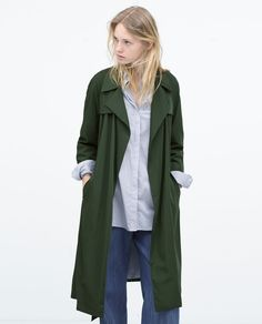 TRENCH FLUIDE AVEC DOUBLURE À RAYURES-Trench-Manteaux-FEMME | ZARA France