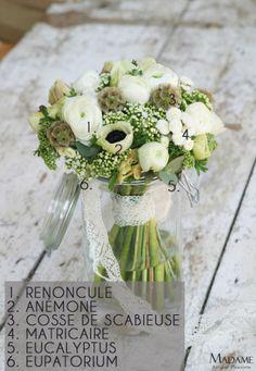 Bouquet de mariee blanc et vert par Madame Artisan fleuriste – La mariee aux pieds nus