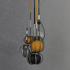 Necklaces: Trapped, 2014. Sterling silver, patina, polymer clay, silk. | Rita Rodner Jewellery