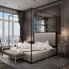 Bedroom ideas and bedroom inspirations Modern Master Bedroom, Modern Bedroom Design, Master Bedroom Design, Dream Bedroom, Bed Design, Home Bedroom, Bedroom Decor, Home Interior, Interior Design
