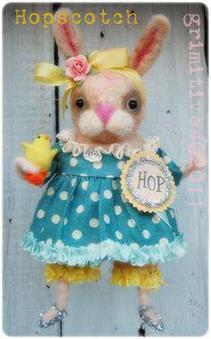 Hopscotch - Grimitive Needle felted Bunny Rabbit .. by doll artist Kaf Grimm of GRIMITIVES