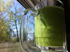 Here's a green shake for two:  1 cup water 2 frozen bananas 1 frozen honey crisp apple 2 big handfuls of spinach