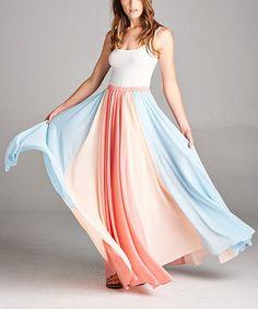 Coral & Blue Color Block Maxi Skirt #zulily #zulilyfinds
