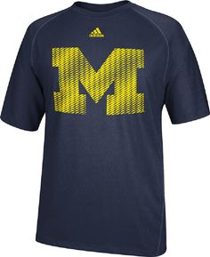 Michigan Wolverines Blue Razor Logo Performance T Shirt by Adidas $31.95