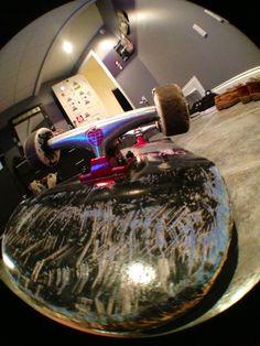 Skateboard, Thunder Trucks, Bones STF Wheels, Bones Reds bearings, standard hard wear, and Grizzly Griptape