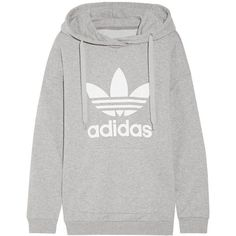adidas Originals Printed French cotton-blend terry hooded top ($70) ❤ liked on Polyvore featuring tops, hoodies, sweatshirts, grey, grey top, woven top, gray top, gray sweatshirt and relaxed fit tops