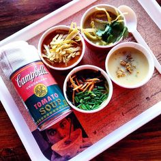 """Free soup at """"The Cantina"""" a Pop Up shop by Campbells Canada!! Located downtown Toronto at 501 Queen St West. Taste 4 unique soups created by Chef Matt Dean Petit of Rock Lobster using Campbells soups - Spicy Vegetarian Ramen Roasted Beer Can Cream of Chicken Creamy Tomato Black Bean Taco Soup & Thai Chicken & Rice. Then personalize your soup by heading over to the Garnish Bar!! Now you have delicious  soup that can be easily made at home! Mmmm good! Oh for every person that visits """"The…"""