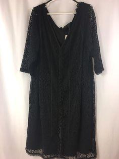 Isabel Toledo for Lane Bryant Black Stretch Lace Sheath Dress Size 28 New  #LaneBryant #Sheath