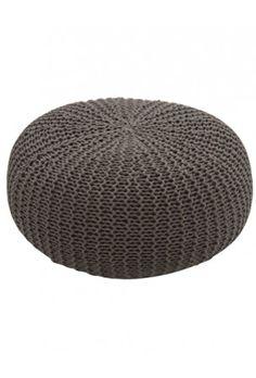 pufe tricot cinza | muma.com.br