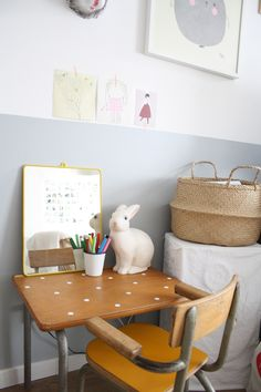 Isn't this a cute DIY desk- the little dots make such a cute addition to a vintage desk!  (Not to mention the cute room)