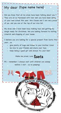 "Free customisable Santa Letter templates ""you've made the nice list'"