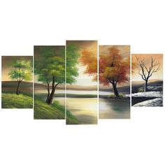 Changing Seasons' Large Gallery-wrapped Hand Oil Painting Canvas Art | Overstock.com Shopping - The Best Deals on Gallery Wrapped Canvas