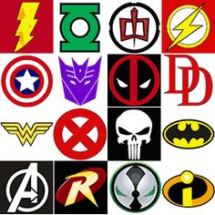 The Super Collection of Superhero Logos -- print on cardstock and hang for decorations
