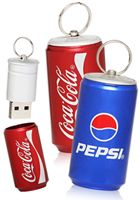 Lilttle can-shaped USB Flash Drives that can be customized with your logo like the Pepsi or Coke logo!