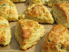 Easy Savory Chive and Sharp Cheddar Cheese Scone Recipe from Farmgirl Fare. Tender and moist inside, lightly crunchy outside, these flavorful scones are made with softened cream cheese instead of butter.