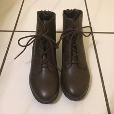 NWT Style&Co ankle booties Never worn, still with original stickers. Color is listed as black, brown, cognac. Appearance is a dark brown. Style & Co Shoes Ankle Boots & Booties