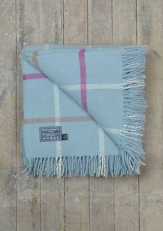 Lifestyle New Wool Blanket in Duck Egg Windowpane