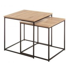 Sharla 2 Piece Nest of Tables Norden Home Cube Side Table, Side Table With Storage, Round Side Table, End Tables, Steel Furniture, Furniture Decor, Console Table, Petite Console, Coffe Table