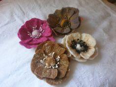 SALE Set 4 pcs.Felt poppy flower wool felt by FahionFeltProducts