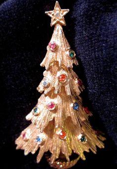 Vintage Signed Monet Christmas Tree Pin w Rhinestones Brooch Xmas Jewelry