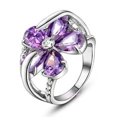 Purple Crystal&Amethyst Rings 18K White Gold Gp Ring Fashion Jewelry Gift R1776