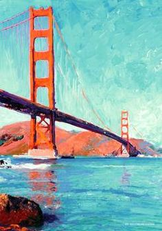 Golden Gate Bridge San Francisco by @rdriccoboni  Golden Gate Bridge acrylic on canvas by American Impressionist painter Randy RD Riccoboni. Brilliant orange and bright blues in the sky and water compliment each other in this exciting painting of the famous bridge in The San Francisco Bay. Available as a fine art print, framed print, and canvas print.