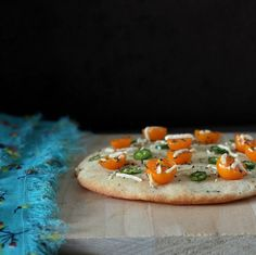 VeganRicha:Crunchy Tomato Rings, Pea Kale pesto on Soft White Gluten-free Pizza Crust