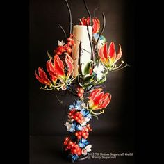 Gumpaste Flowers Bouquet~my competition work #gumpasteflowers #sugarflowers #sugarartist #sugarcraft #sugarflowerclasses #sugarcraftclass #gumpasteflowerbouquet #flowerbouquet #competition #wendysugarcraft #gloriosalily